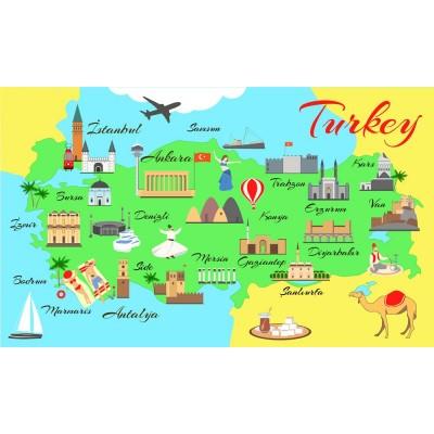 Bebek Çocuk Odası Türkiye Haritası Duvar Kağıdı